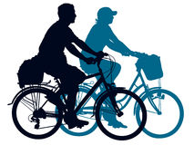 Cycling couple. Cycling people on a summer trip. Vector illustration vector illustration