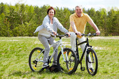 Cycling couple stock image