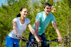 Cycling couple Royalty Free Stock Image