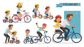 Cycling Couple. Set. Happy family riding bicycles together. parent, Fatherhood, Motherhood, Brother, son, daughter, father, cute cartoon. Vector illustrations vector illustration