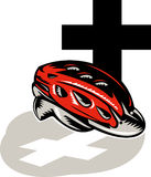 Cycling crash helmet with cross Royalty Free Stock Image