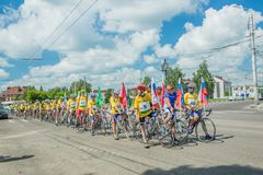 Cycling cycle race participants. City Tula. Russia - JUNE 22, 2016: cycling cycle race participants participant in a bike ride against drugs, alcoholism and Stock Image