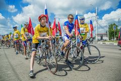 Cycling cycle race participants participant in a bike ride. City Tula. Russia - JUNE 22, 2016: cycling cycle race participants participant in a bike ride Royalty Free Stock Images