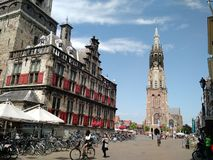 Cycling in Delft, Netherlands royalty free stock photography