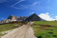 Cycling on Dolomites Stock Photo