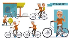 Cycling Elderly. Cycling Older set. grandfather and Grandson. male Relax in the city bike, Leisure, activities, Landscaping, exercise, motion, Vector royalty free illustration