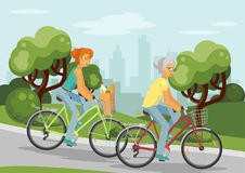 Cycling elderly and young women in the city. Elderly and young women on bikes. Women cycling in the city park. Bicycle with grocery bag. Vector illustration vector illustration