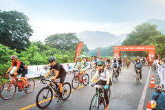 Cycling event asia at montain in thailand. Cycling event in Thailand with many people and montain background Stock Photography