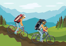 Cycling family. Family on bikes. Woman and man with child in helmets cycling in the mountains. Summer leisure. Flat vector illustration royalty free illustration