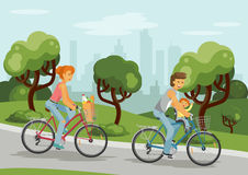 Cycling family in the city. Family on bikes. Woman and man with baby cycling in the city park. Bicycles with grocery bag. Vector illustration royalty free illustration