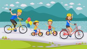 Cycling Family. Happy family. Cycling along the road in natural scenery. Beautiful lake. Parents, sons and daughters. Holiday travel Concept of bicycle culture Royalty Free Stock Photography