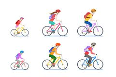 Cycling family isolated on white background. Vector flat style cartoon illustration of mom, dad and child riding bikes. Happy cycling family isolated on white vector illustration