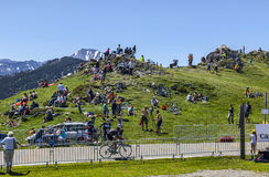 Cycling Fans in Mountains stock image