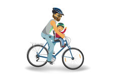 Cycling father. Green bike with basket on white background. Vector illustration vector illustration