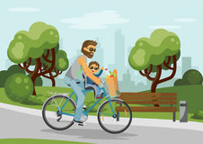 Cycling father. Man with child and grocery bag on bike. Happy caring father and smiling son shopping together. Vector illustration vector illustration
