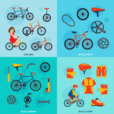 Cycling 4 flat icons square banner Stock Photo