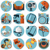 Cycling flat round icons set Royalty Free Stock Photos