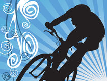 Cycling on floral back ground. Silhouette  of man Cycling on floral back ground Royalty Free Stock Images