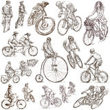 Cycling - Freehand sketches, collection Royalty Free Stock Photo
