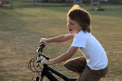 Cycling is fun. Boy riding bike at sunset time Royalty Free Stock Photography