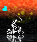 Cycling girl with balloon. Of heart shape. Graphic illustration with red background and water ripples Royalty Free Stock Photo