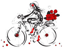 Cycling Girl with floral bouquet in sketch-style Royalty Free Stock Photo