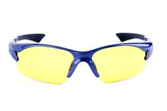 Cycling glasses. Sporting eyeglasses with yellow lens Royalty Free Stock Photo