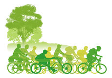 Cycling Group. Group of cyclist on the road. Vector illustration