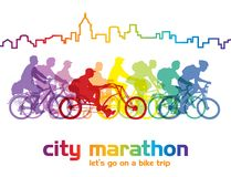 Cycling group. Group of cyclist on the bicycle tour around the city. Vector illustration Stock Photo