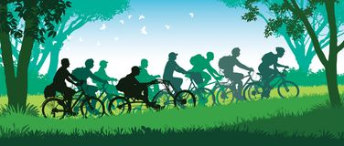 Cycling group. Group of happy cyclists on a summer bicycle trip in the park. Vector illustration Stock Images