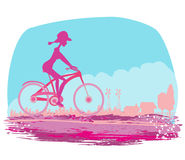 Cycling Grunge Poster with  Girl Stock Photo