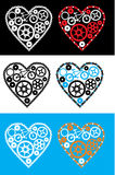 Cycling heart. Mechanism with gears and chain on different backgrounds stock illustration