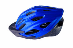 Cycling helmet on a white background. Blue cycling helmet on a white background Royalty Free Stock Image