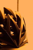 Cycling helmet. With yellow toning Stock Images