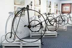Cycling through history exhibition in Imperia stock photography