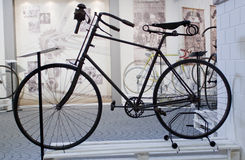 Cycling through history exhibition old cycle stock image