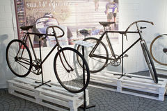 Cycling through history exhibition two old cycle stock image
