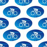 Cycling icon in a blue oval surround Royalty Free Stock Photography