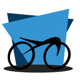 Cycling icon on geometric blue background Stock Image