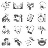 Cycling icon set black Royalty Free Stock Photo
