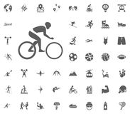 Cycling icon. Sport illustration vector set icons. Set of 48 sport icons. Cycling icon. Sport illustration vector set icons. Set of 48 sport icons Stock Images