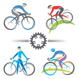 Cycling icons. Colorful cycling and mountain biking icons. Vector illustrations stock illustration