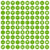 100 cycling icons hexagon green. 100 cycling icons set in green hexagon isolated vector illustration Stock Photography