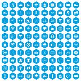 100 cycling icons set blue. 100 cycling icons set in blue hexagon isolated vector illustration Vector Illustration