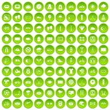 100 cycling icons set green circle. Isolated on white background vector illustration Royalty Free Illustration