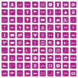 100 cycling icons set grunge pink. 100 cycling icons set in grunge style pink color isolated on white background vector illustration vector illustration