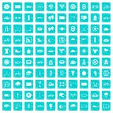 100 cycling icons set grunge blue. 100 cycling icons set in grunge style blue color isolated on white background vector illustration Royalty Free Stock Photography