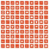 100 cycling icons set grunge orange. 100 cycling icons set in grunge style orange color isolated on white background vector illustration Royalty Free Stock Photography
