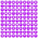 100 cycling icons set purple. 100 cycling icons set in purple circle isolated on white vector illustration vector illustration
