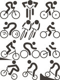 Cycling icons. Summer sports icons set - cycling icons stock illustration